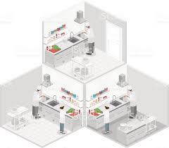 isometric floor plan isometric flat 3d interior of professional restaurant kitchen