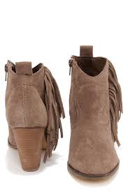 Brown Fringe Ankle Boots Steve Madden Ponncho Taupe Suede Fringe Ankle Boots Taupe Steve