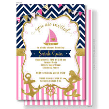 mermaid baby shower invitations pink and gold nautical baby shower invitation
