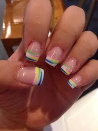 summer french acrylic nails nail art french colors nails