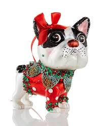 glass bulldog with bow ornament created for