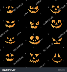 halloween pumpkin black background scary faces halloween pumpkin vector stock vector 114445858
