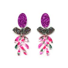statement earrings neon pink glitter leaf statement earrings laser cut resin jewelry