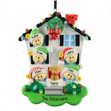 family of 5 house ornament personalized