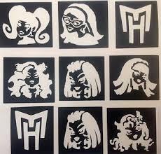 9 x stencils monster high top up your glitter tattoo kit face
