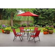 Glass Table Patio Set Mainstays Wentworth 7 Piece Patio Dining Set Seats 6 Walmart Com