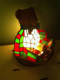 tiffany style stained glass christmas teddy bear lamp light too