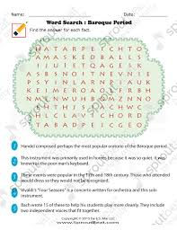 music worksheets u2013 word search baroque period