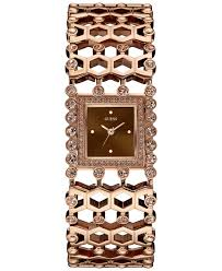 gold tone stainless steel bracelet images Lyst guess women 39 s crystal accent rose gold tone stainless steel jpeg