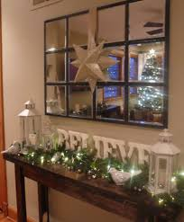 decorated christmas console table i like the letters maybe for