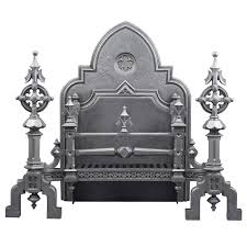 huge ornate antique english gothic revival cast iron fireplace