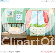 Bedroom Cartoon Cartoon Of A Bedroom With Striped Wallpaper Royalty Free Vector