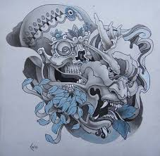 tattoo design skull and hanya mask by xenija88 on deviantart