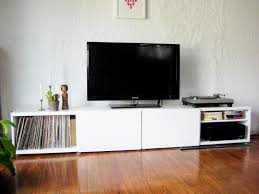ikea white tv stand record stand put record storage on both sides and stain in deep