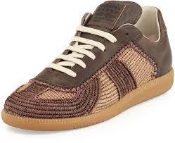 where to buy raffia maison margiela marrakech raffia leather low top sneaker camel
