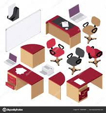 office interior set isometric office furniture stationery