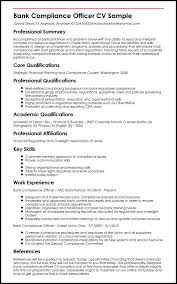 Sample Resume For Bank by Bank Compliance Officer Cv Sample Myperfectcv