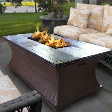 patio rectangular fire pit table with wooden pattern tiles and