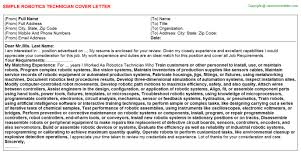 robotics technician cover letter
