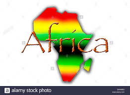 Blank Map Of The Word by An Outline Of The Map Of Africa In Pan African Colours On A White