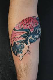 asian traditional style colored forearm tattoo of manmon cat
