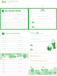 st patrick u0027s day pub crawl printable evite