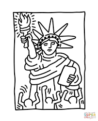statue of liberty by keith haring coloring page free printable