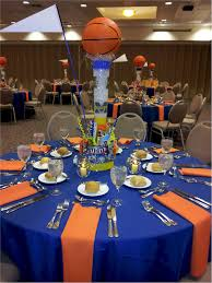 basketball party table decorations idea of how to set up table cloths for both grad party or baseball