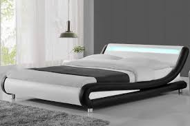 crazy beds madrid led lights modern designer bed black white faux leather