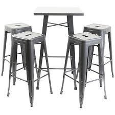industrial bar table and stools hartleys gunmetal square industrial bistro bar table 4 metal tall