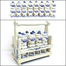 vintage wood spice rack caddy holder german white blue ceramic