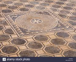 Spanish Floor Mosaic Floor In Ruins Of Empuries Complex A Colourful Patterns In