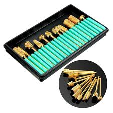 pro gold coated carbide electric nail drill bits grinding head set