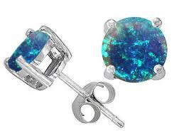 opal earrings stud australian opal earrings original k created blue opal