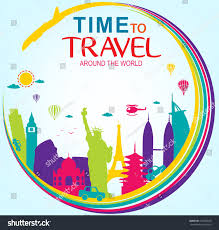 vector time travel around world stock vector 413528536