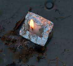 start a fire in adverse conditions take a small square of foil a