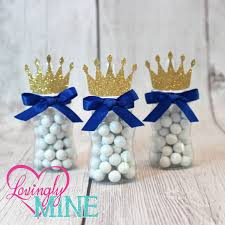 Prince Favors prince baby bottle favors in royal blue glitter gold