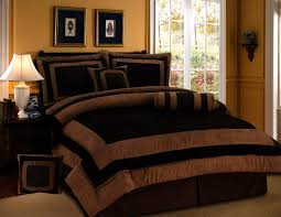 7 pieces chocolate brown suede short fur comforter set queen