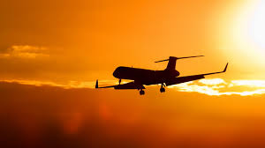 sunset with aircraft free ppt backgrounds for your powerpoint