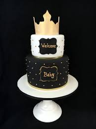 royal baby shower cake in black white and gold by amy hart