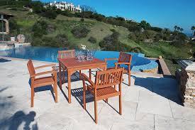 Patio Dining Set - amazon com vifah v1104set1 outdoor wood 5 piece dining set 35 4