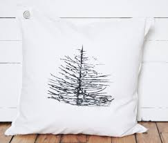 branchy pine tree pillow kriss lecocq white line