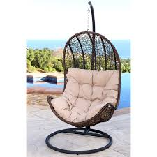 Patio Chair Swing Abbyson Living Newport Outdoor Brown Wicker Egg Shaped Swing Chair