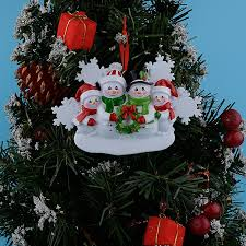 wholesale resin snowman family of 4 ornaments