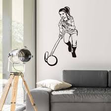 online shop high quality female hockey player wall mural vinyl online shop high quality female hockey player wall mural vinyl hollow out removable self adhesive hockey sports wall stickers living room aliexpress