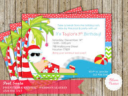 Invitation Card For Christmas Christmas Pool Party Invitation Winter Pool Party Swimming