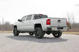 white jeep black rims lifted 5in suspension lift kit for 14 18 4wd chevy silverado gmc sierra