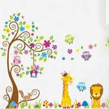 stickers high pour chambre dessin animé girafe hibou arbre modèle enfants pépinière