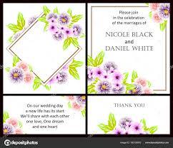 style flower vintage style flower wedding cards set floral elements color stock