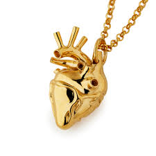 heart necklace gold plated images Large gold plated anatomical heart necklace the great frog jpg